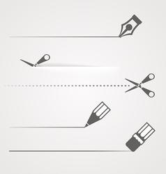 Dividers of scissors pen and crayon vector