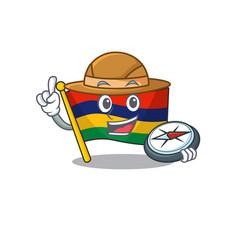 Explorer flag mauritius kept in mascot cupboard vector
