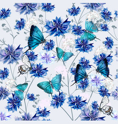 fashion seamless pattern with blue cornflowers vector image