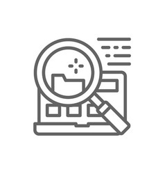 File search in laptop line icon vector