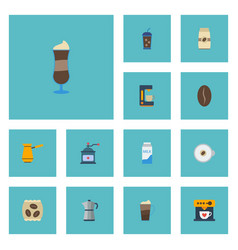 Flat icons package latte latte arabica bean and vector
