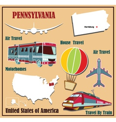 Flat map of Pennsylvania vector