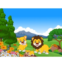 funny lion cartoon family in the jungle vector image