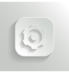 Gear icon - white app button vector image