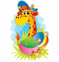 Giraffe with ball vector
