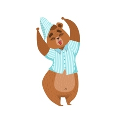 Girly Cartoon Brown Bear Character In Pyjamas vector