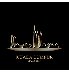 gold silhouette kuala lumpur on black vector image