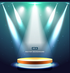 gold stage with spotlight and star on deep blue vector image