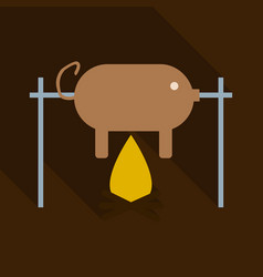 grilled pig icon of roasted piglet on white vector image