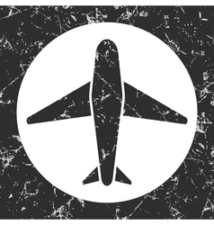 grunge gray circle icon - airplane vector image