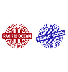 grunge pacific ocean scratched round stamp seals vector image