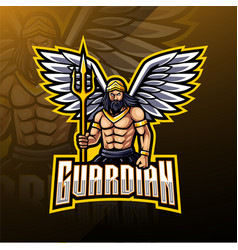 Guardian angel mascot logo design vector