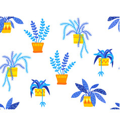hand drawn potted plants seamless pattern vector image