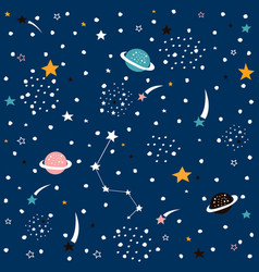 Hand drawn space galaxy seamless pattern vector