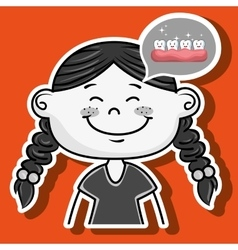 Happy cartoon girl wearing coloured clothes over a vector