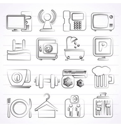 Hotel Amenities Services Icons vector image