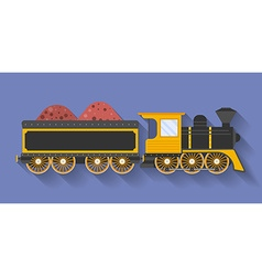 Icon of steam locomotive or puffer with the wagon vector