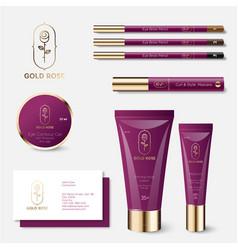 identity cosmetics rose beauty tubes jar mockup vector image