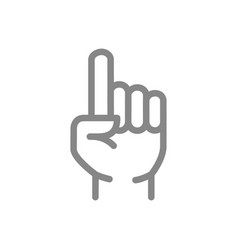 Index finger gesture line icon attention symbol vector
