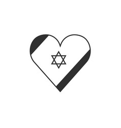 Israel flag icon in heart shape in black flat vector