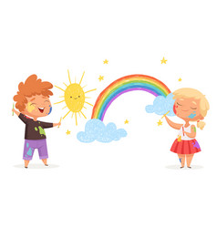 Kids draw rainbow happy little artists painting vector