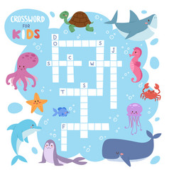 Kids magazine book puzzle game of sea underwater vector