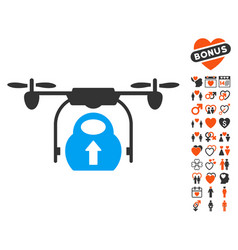 Load cargo drone icon with love bonus vector