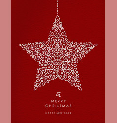 merry christmas happy new year outline star deco vector image