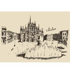 Milan Cathedral Duomo di Milano Italy hand drawn vector image