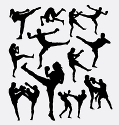Muay thai martial art kick boxing silhouette vector