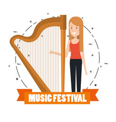 Music festival live with woman playing harp vector
