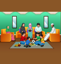muslim family playing in the living room vector image