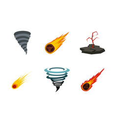 natural disaster icon set flat style vector image
