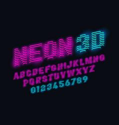 neon glow 3d font vector image vector image