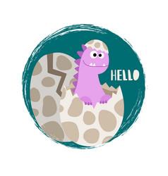 Newborn baby girl dinosaur banner flat vector