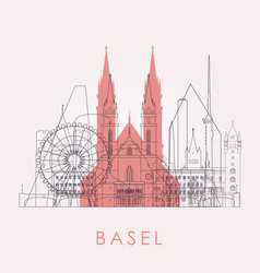 Outline basel skyline with landmarks vector