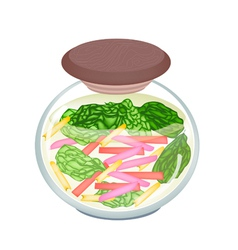 Pickled ruby red chard in a jar vector