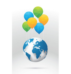 planet earth and colorful balloons vector image