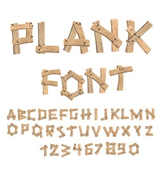 Plank font Wooden table alphabet Old boards with vector