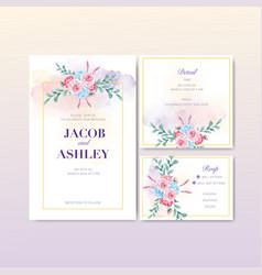 Retro style floral charming wedding card design vector