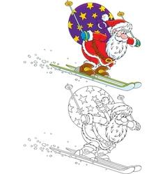 Santa skiing with Christmas gifts vector