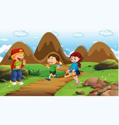 Scene with many children in park vector