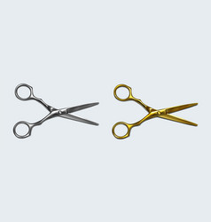 Scissors silver and gold metal with open blades vector