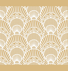 seamless decorative lace scales pattern on beige vector image