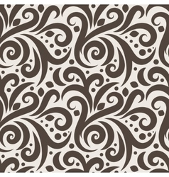 Seamless floral pattern with curls and dots vector image