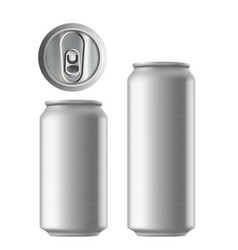 Set metal aluminum cans 330 and 500 ml metal vector