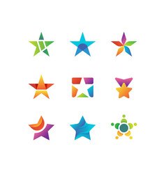 shooting night star rising stars logo vector image