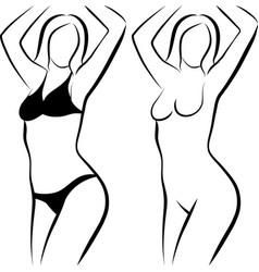 Sketch naked woman and woman in bikini vector