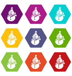 snowman icons set 9 vector image