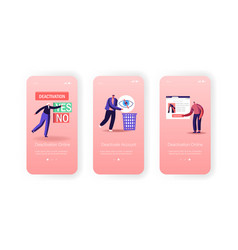 Social account deactivation mobile app page vector